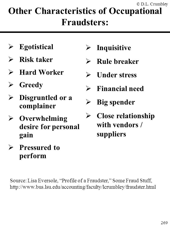 Other Characteristics of Occupational Fraudsters: