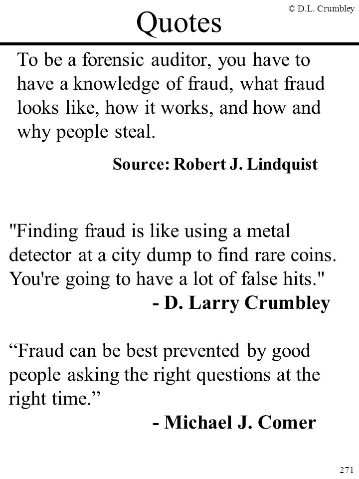 Quotes Source: Robert J. Lindquist