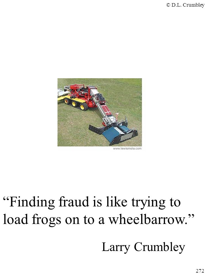 Finding fraud is like trying to load frogs on to a wheelbarrow.