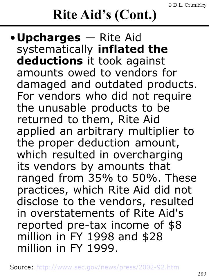Rite Aid's (Cont.)