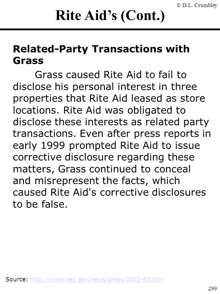 Rite Aid's (Cont.) Related-Party Transactions with Grass