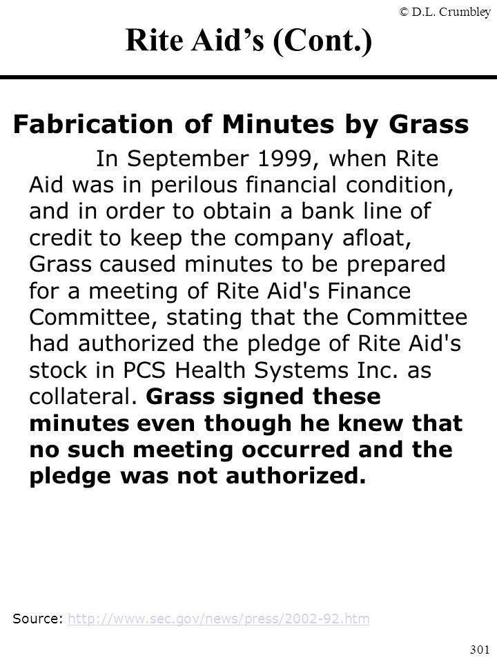Rite Aid's (Cont.) Fabrication of Minutes by Grass