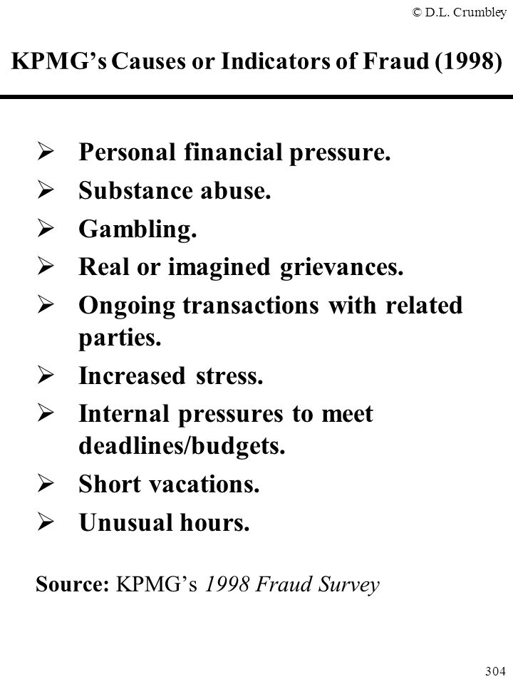 KPMG's Causes or Indicators of Fraud (1998)