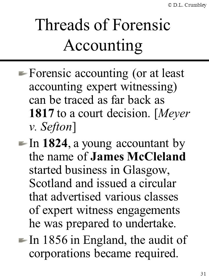 Threads of Forensic Accounting