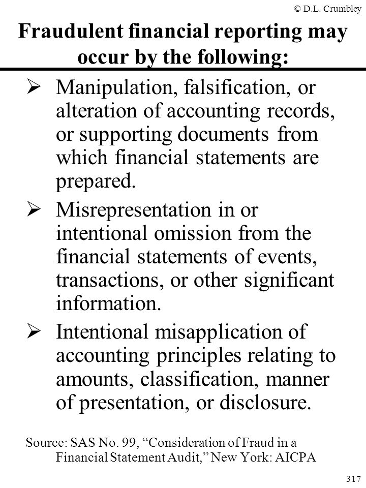 Fraudulent financial reporting may occur by the following:
