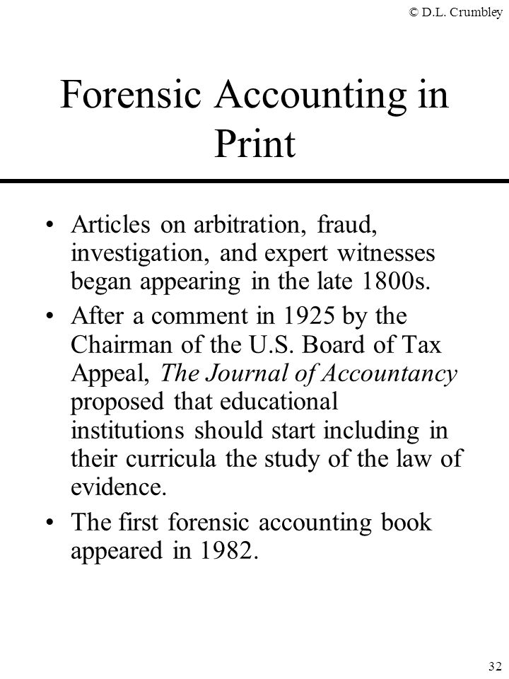 Forensic Accounting in Print