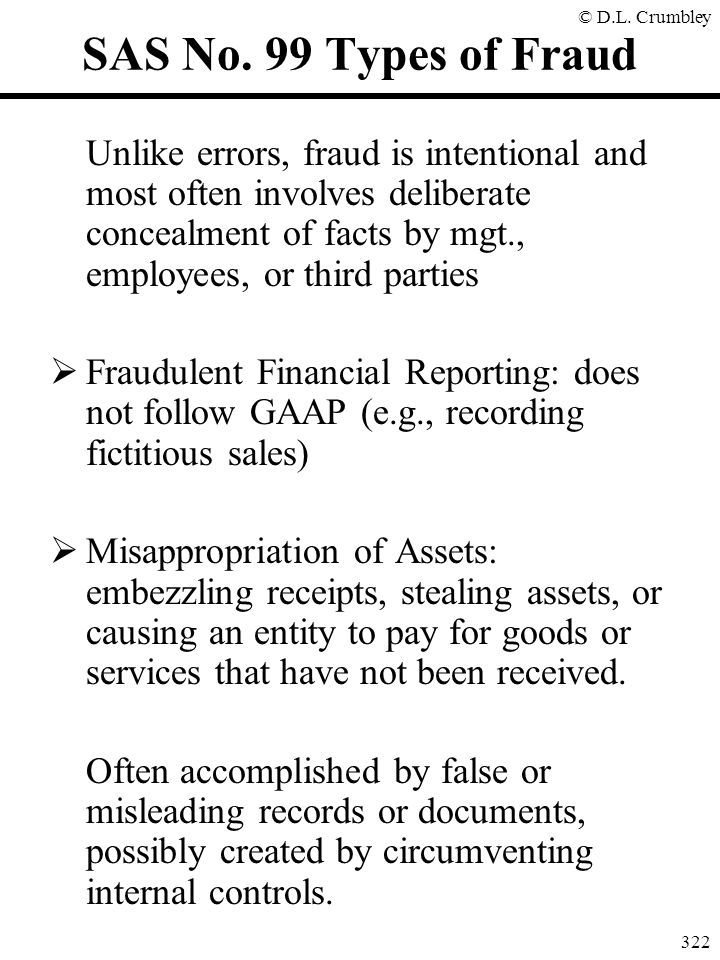 SAS No. 99 Types of Fraud
