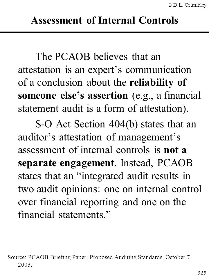 Assessment of Internal Controls