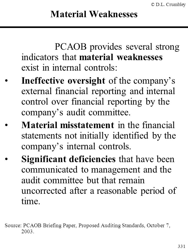 Material Weaknesses PCAOB provides several strong indicators that material weaknesses exist in internal controls: