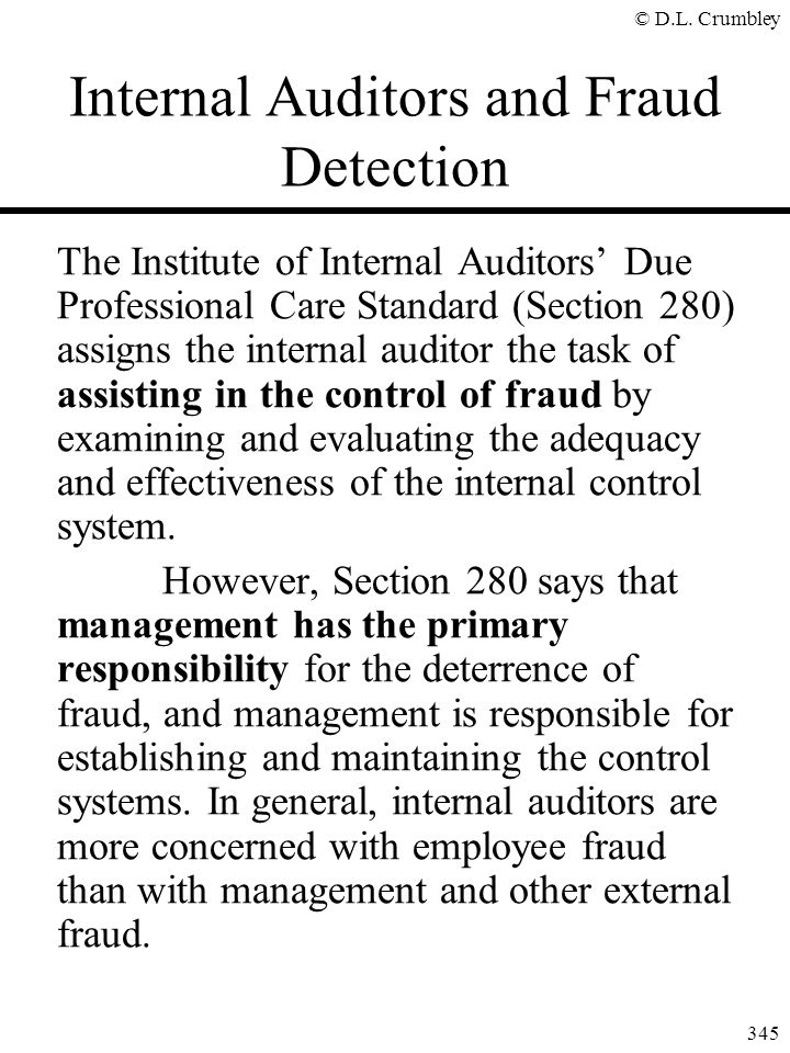 Internal Auditors and Fraud Detection