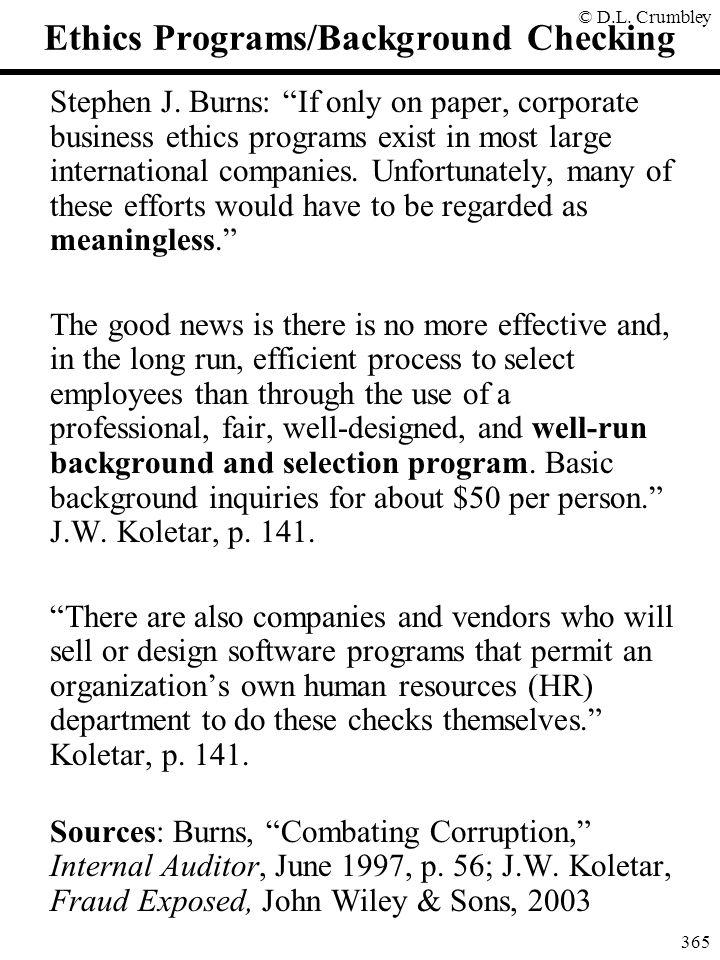 Ethics Programs/Background Checking