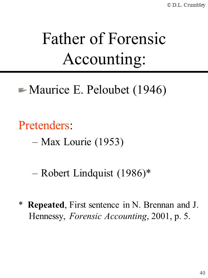 Father of Forensic Accounting: