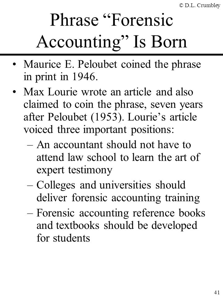 Phrase Forensic Accounting Is Born