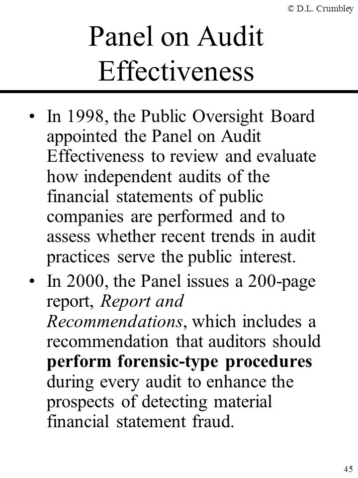 Panel on Audit Effectiveness