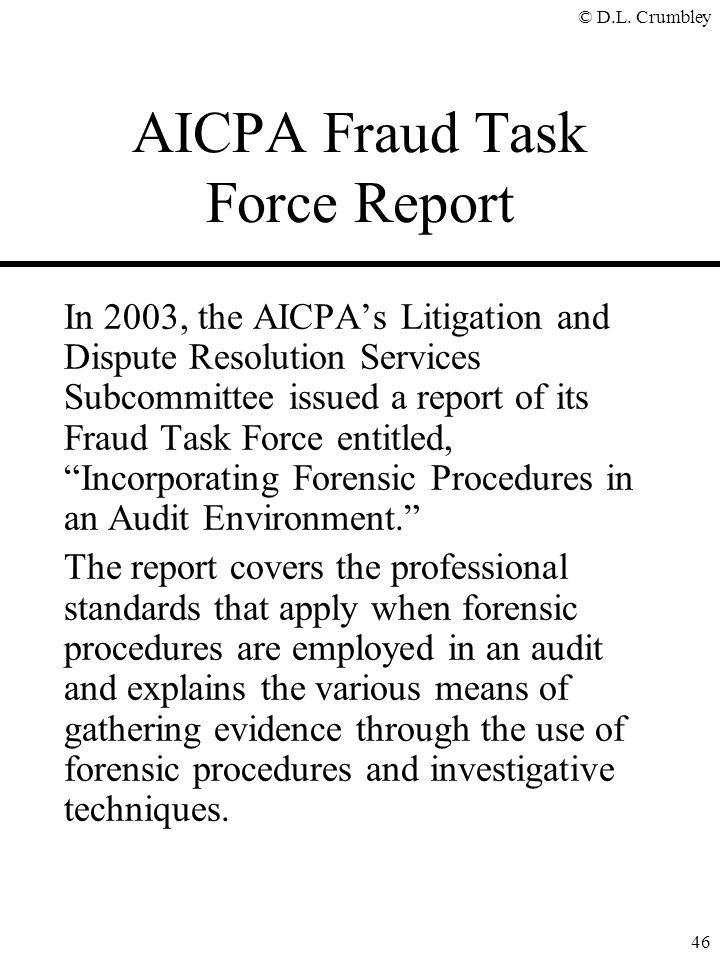 AICPA Fraud Task Force Report