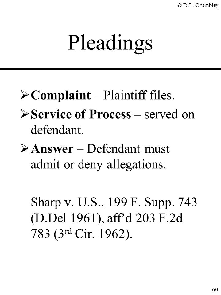 Pleadings Complaint – Plaintiff files.