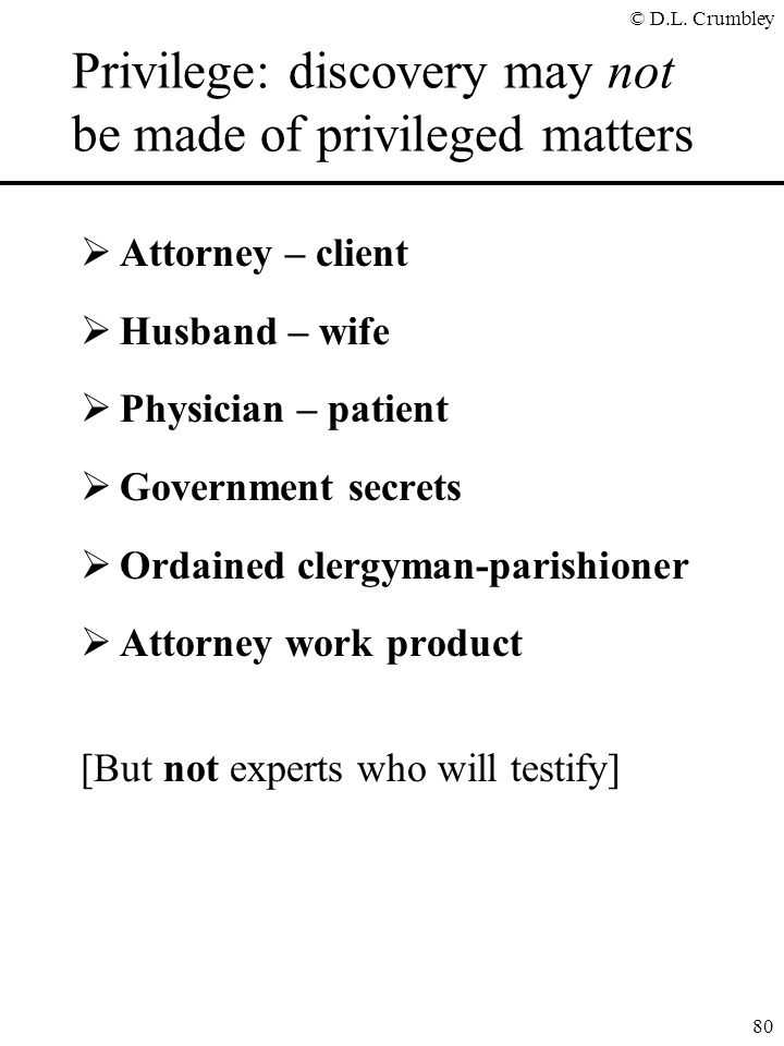 Privilege: discovery may not be made of privileged matters