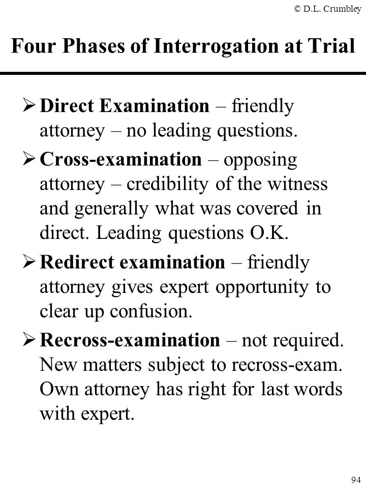 Four Phases of Interrogation at Trial