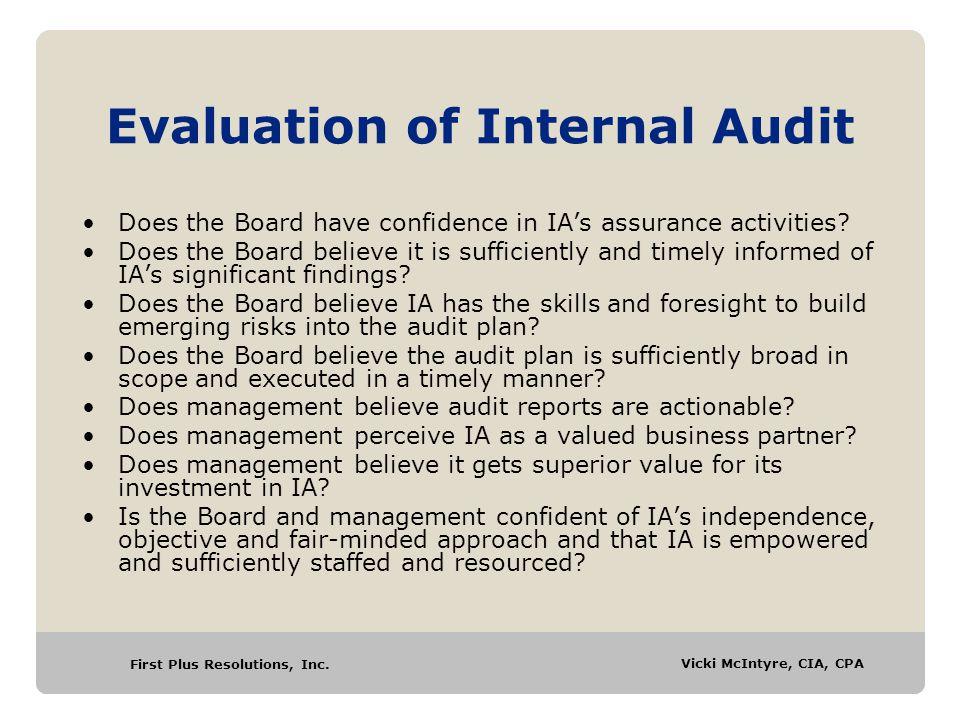 Evaluation of Internal Audit