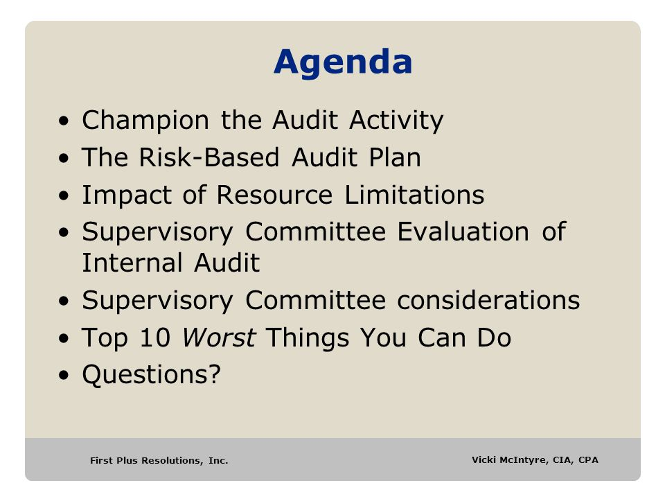 Agenda Champion the Audit Activity The Risk-Based Audit Plan