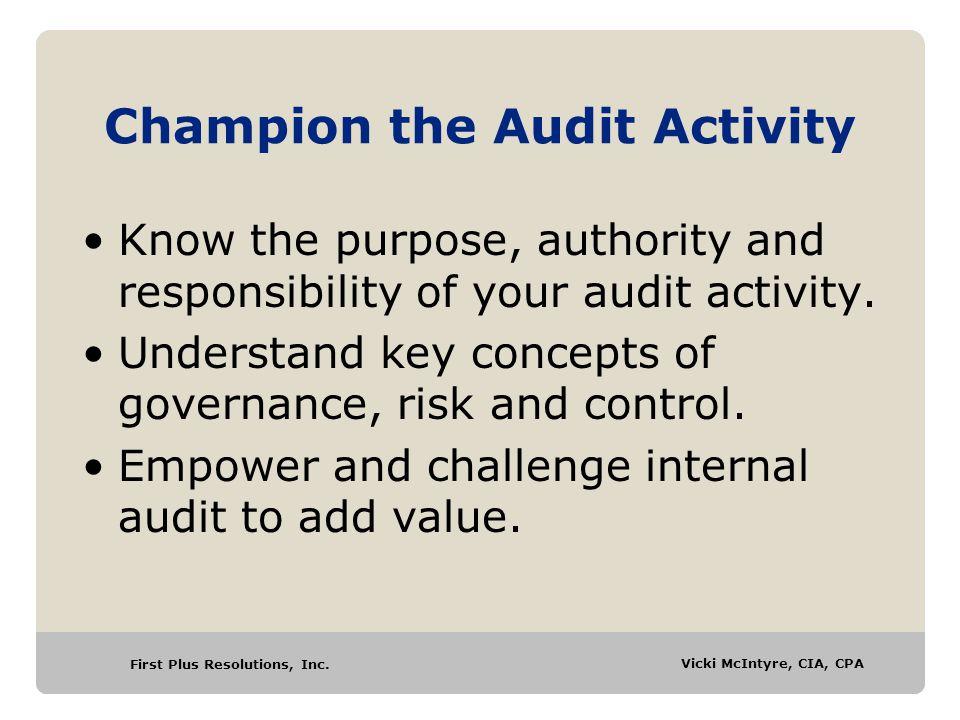 Champion the Audit Activity