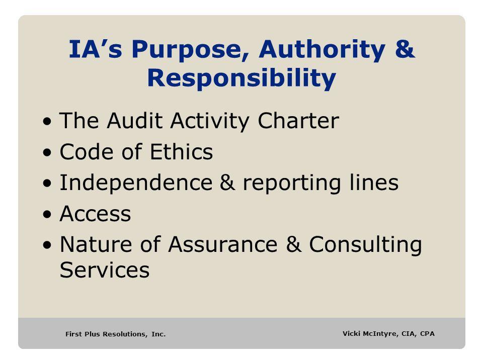 IA's Purpose, Authority & Responsibility