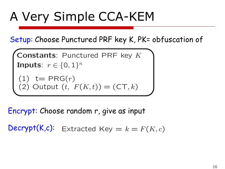 A Very Simple CCA-KEM Setup: Choose Punctured PRF key K, PK= obfuscation of. Encrypt: Choose random r, give as input.