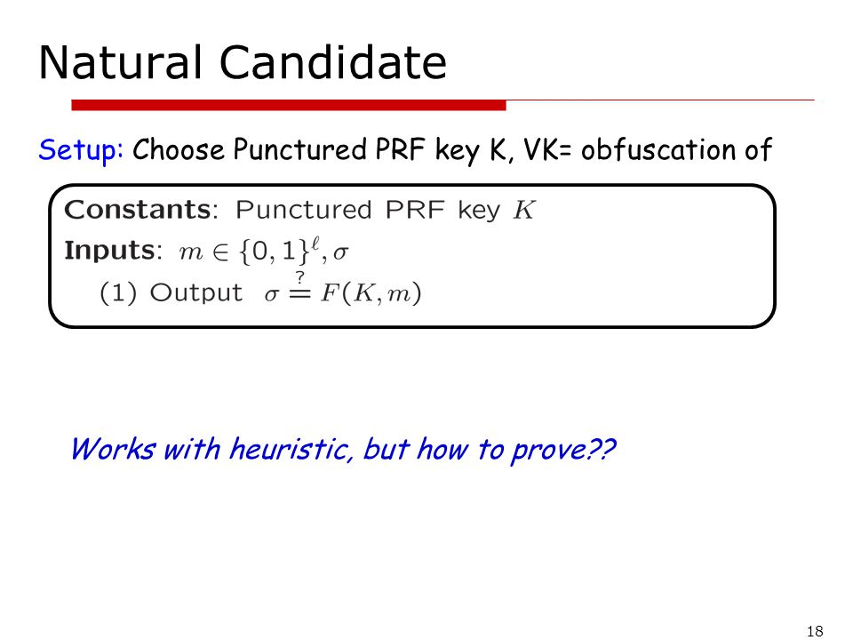 Natural Candidate Setup: Choose Punctured PRF key K, VK= obfuscation of. Works with heuristic, but how to prove