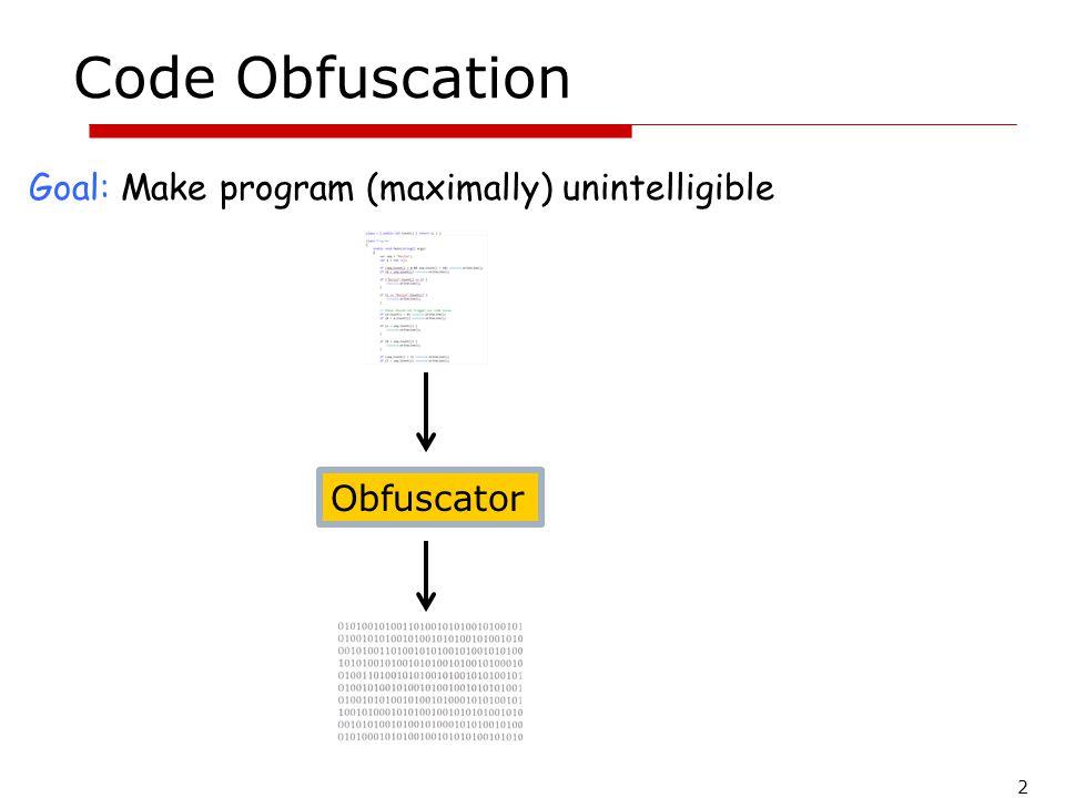 Code Obfuscation Goal: Make program (maximally) unintelligible