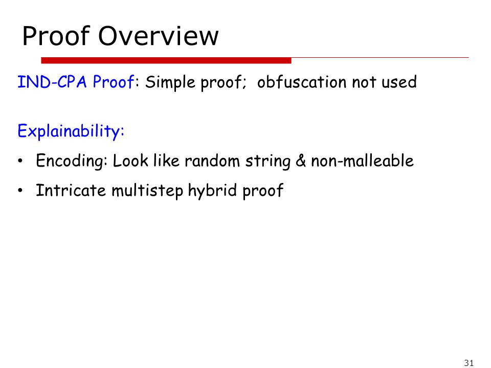 Proof Overview IND-CPA Proof: Simple proof; obfuscation not used