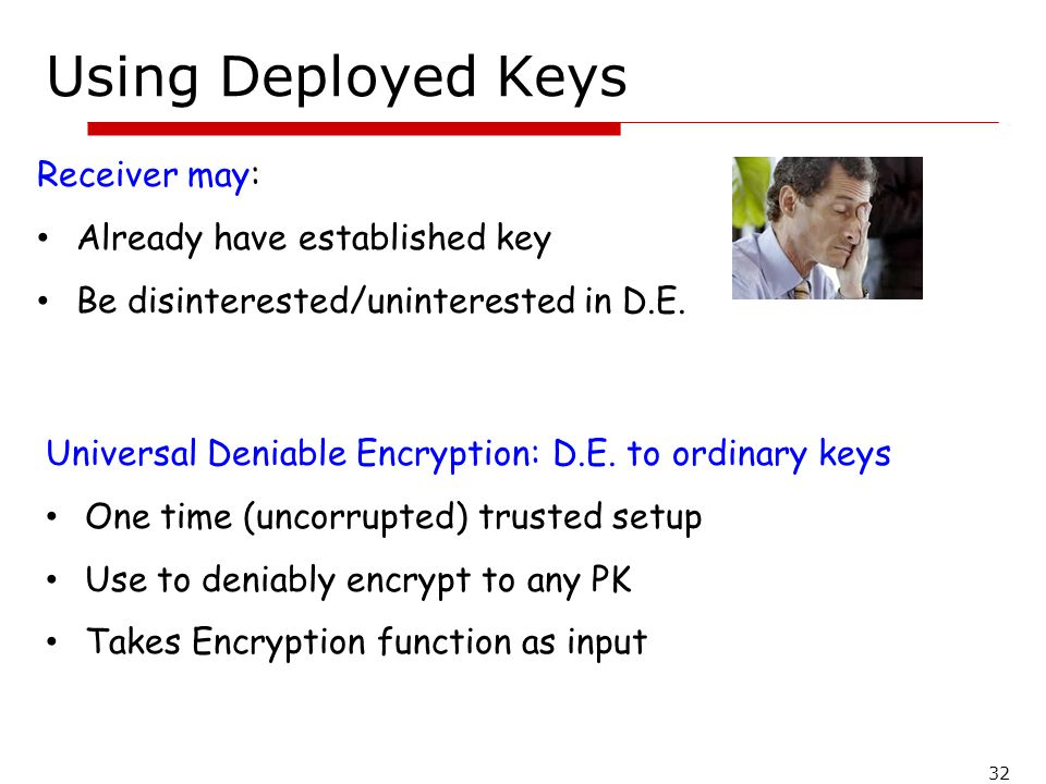Using Deployed Keys Receiver may: Already have established key