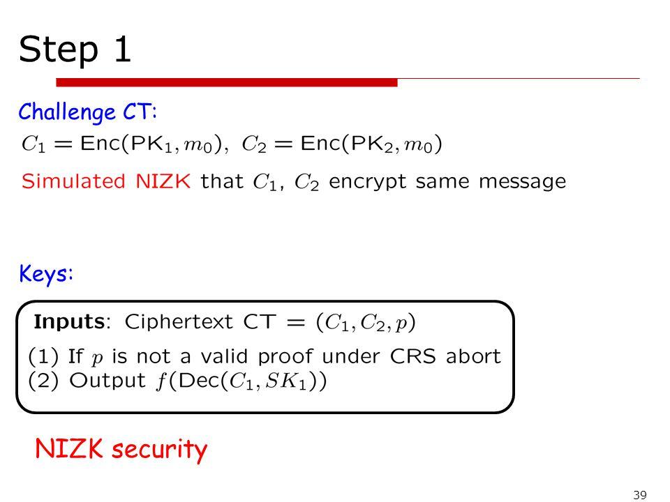 Step 1 Challenge CT: Keys: NIZK security 39