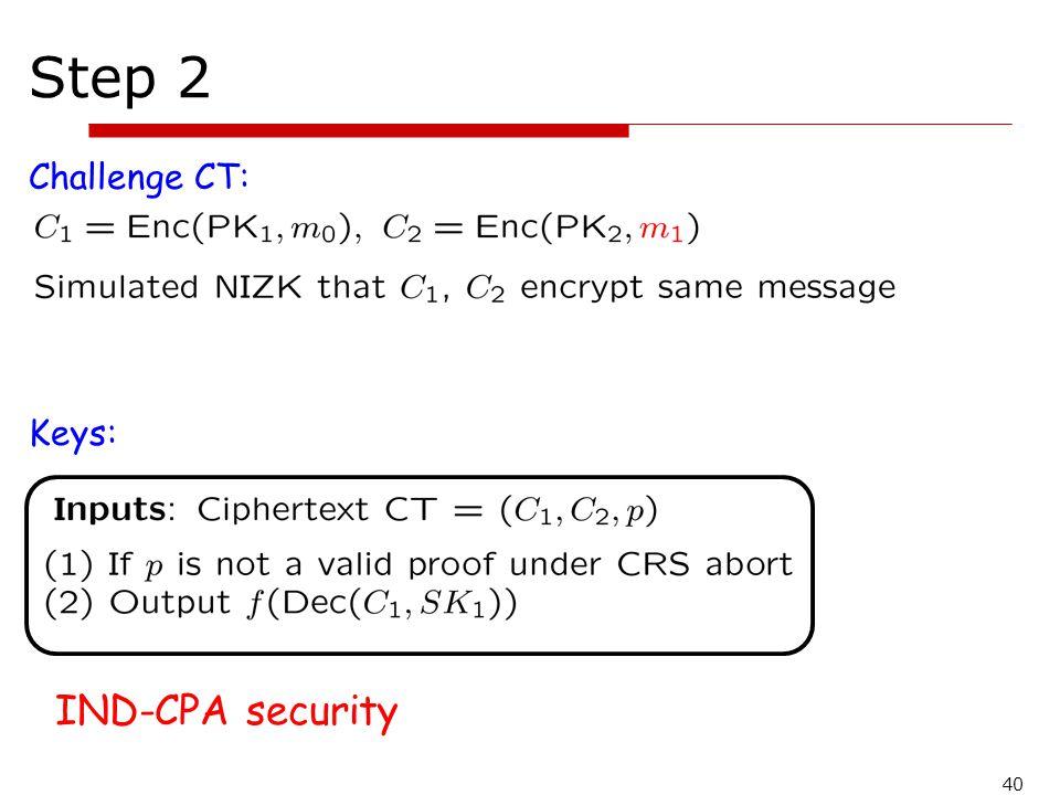 Step 2 Challenge CT: Keys: IND-CPA security 40