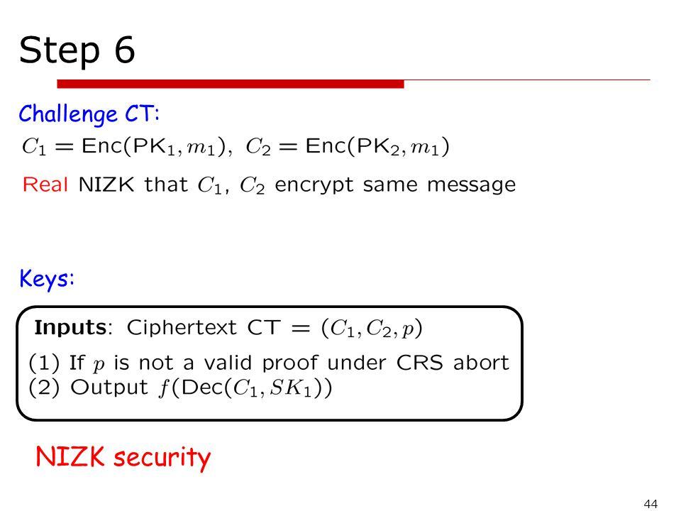 Step 6 Challenge CT: Keys: NIZK security 44
