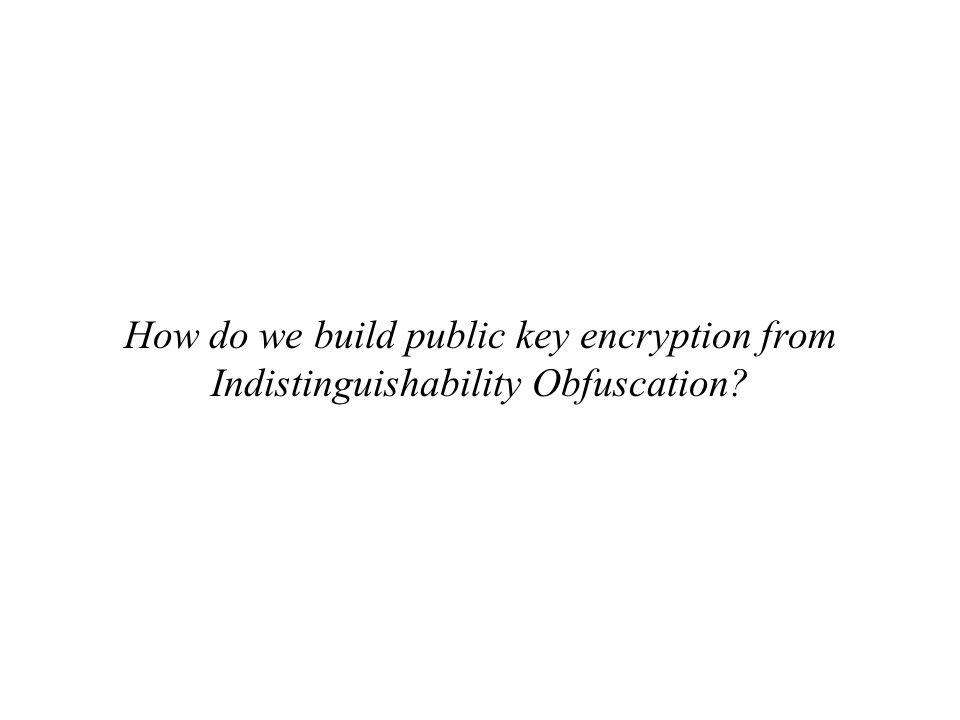 How do we build public key encryption from Indistinguishability Obfuscation