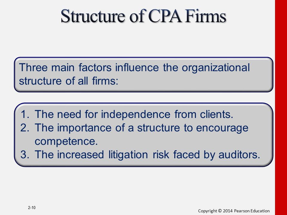 Structure of CPA Firms Three main factors influence the organizational