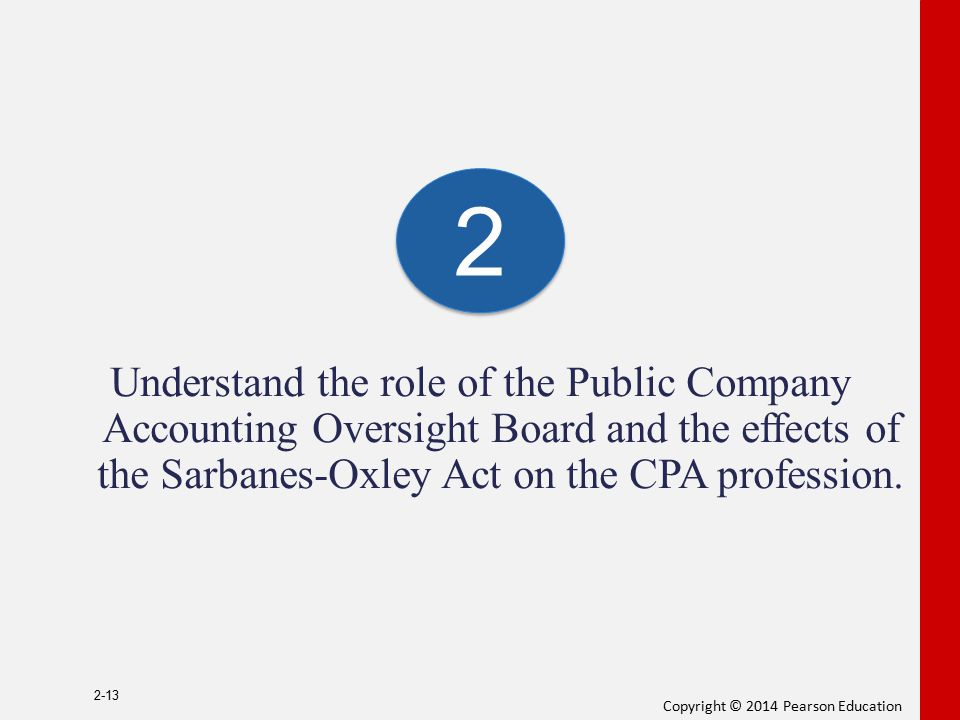 2 Understand the role of the Public Company Accounting Oversight Board and the effects of the Sarbanes-Oxley Act on the CPA profession.
