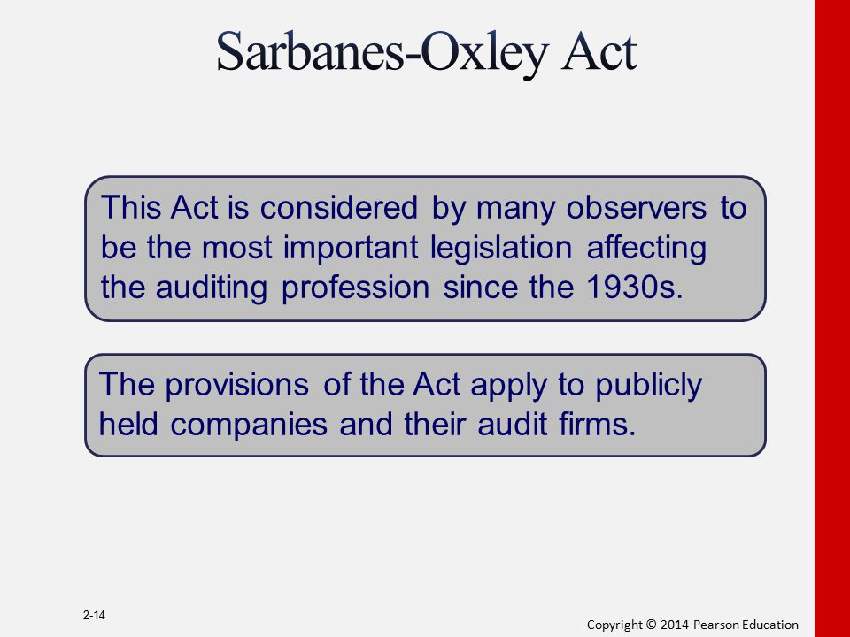 Sarbanes-Oxley Act This Act is considered by many observers to