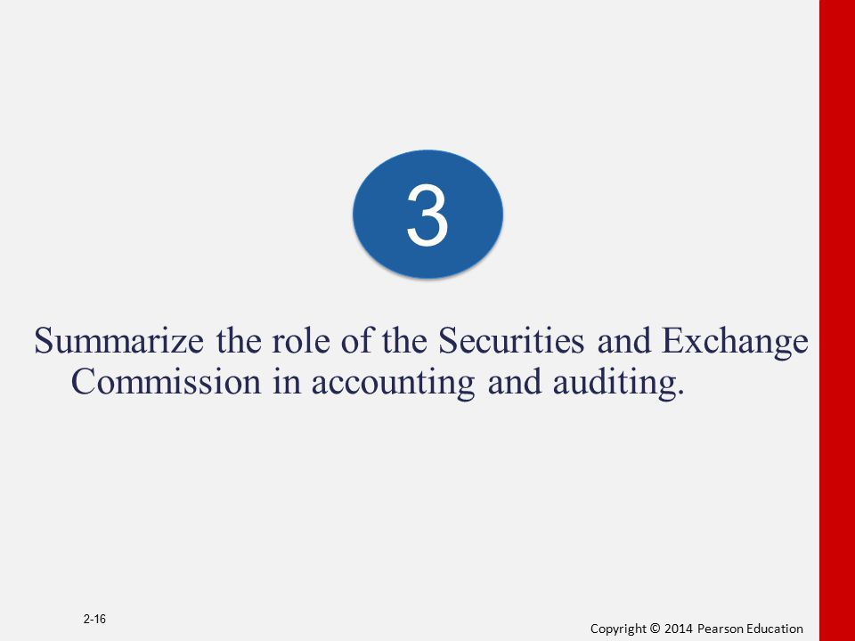 3 Summarize the role of the Securities and Exchange Commission in accounting and auditing.