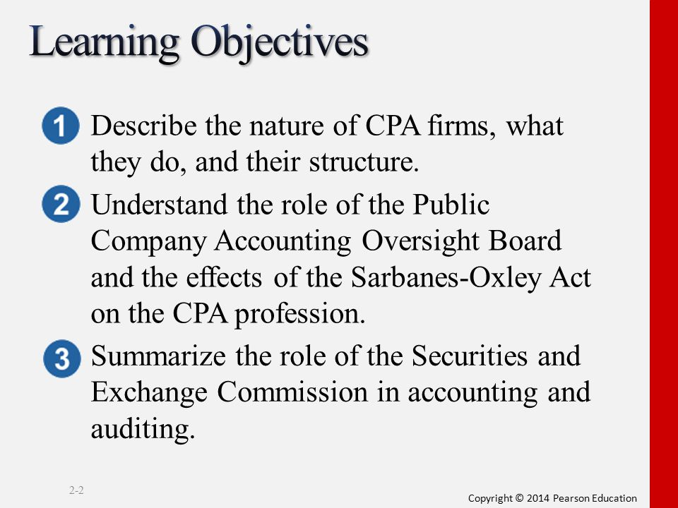 Learning Objectives Describe the nature of CPA firms, what they do, and their structure.
