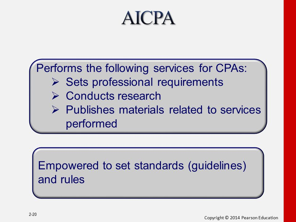 AICPA Performs the following services for CPAs: