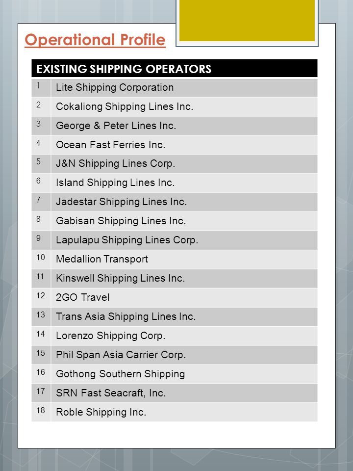 Operational Profile EXISTING SHIPPING OPERATORS
