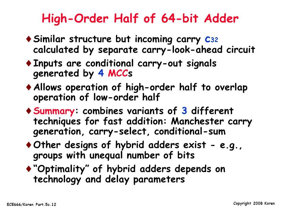 High-Order Half of 64-bit Adder