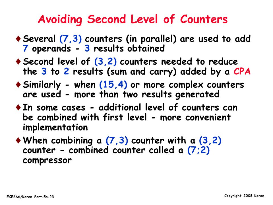 Avoiding Second Level of Counters