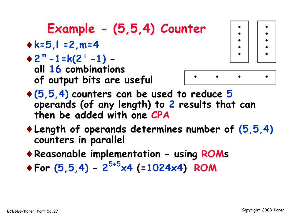 Example - (5,5,4) Counter k=5,l =2,m=4