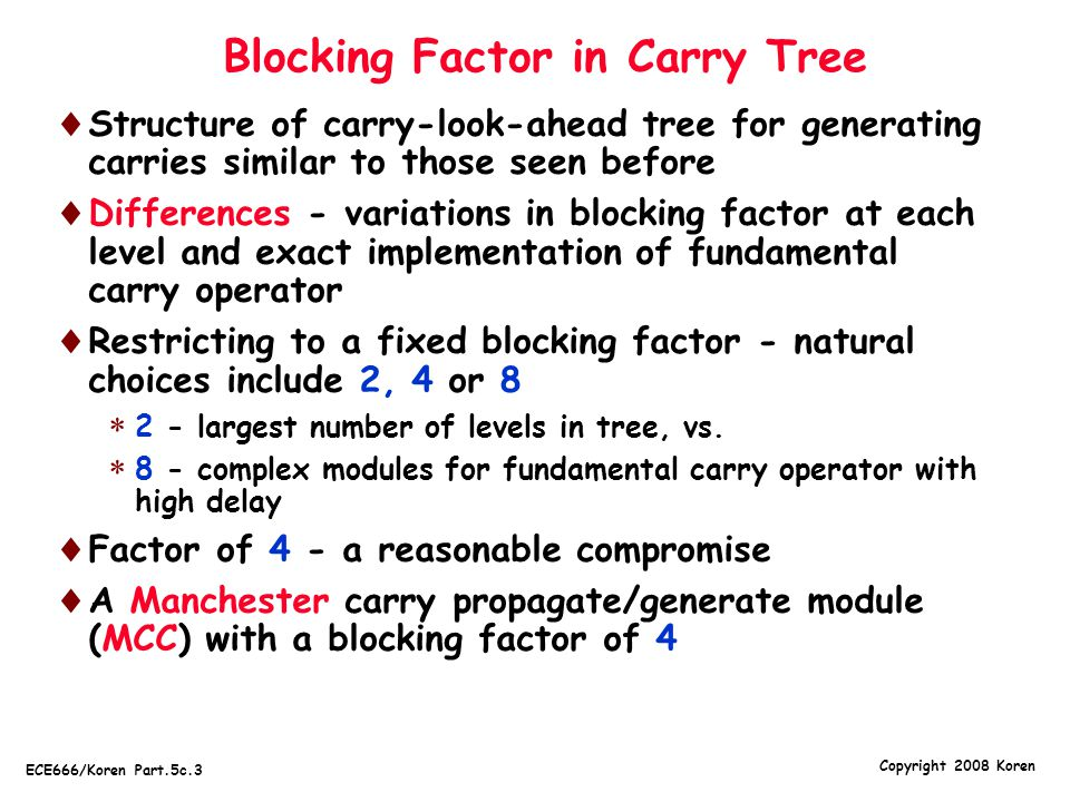 Blocking Factor in Carry Tree