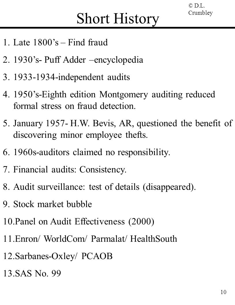Short History Late 1800's – Find fraud