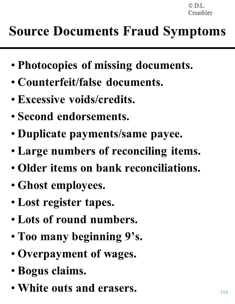 Source Documents Fraud Symptoms