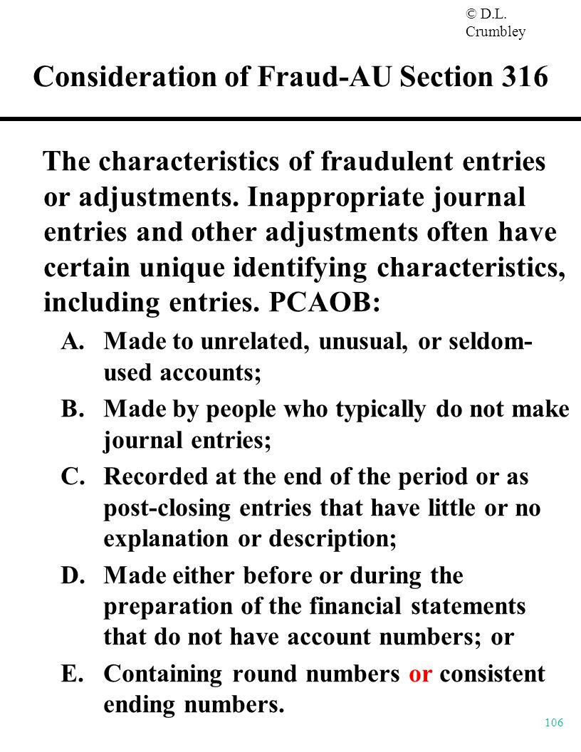 Consideration of Fraud-AU Section 316