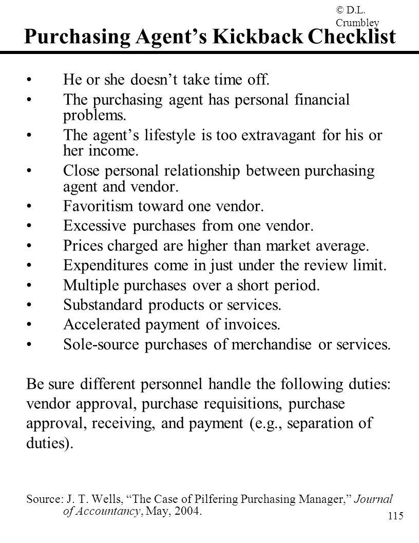 Purchasing Agent's Kickback Checklist